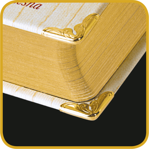 gold plated corner clips of this book